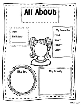 All About Me Posters for First Day of School or Open House