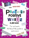 All About Me Printable:  Positive Phrases and Words Magazine Cut-Outs