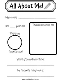 All About Me Printable Worksheet (Back To School)