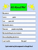 All About Me GOOGLE Activity
