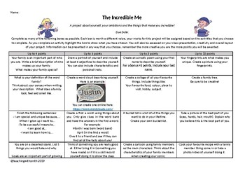 All About Me Project Grid
