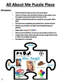 All About Me Puzzle Piece- First Day of School Activity