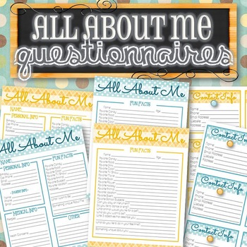 All About Me Questionnaire and Contact Info Cards