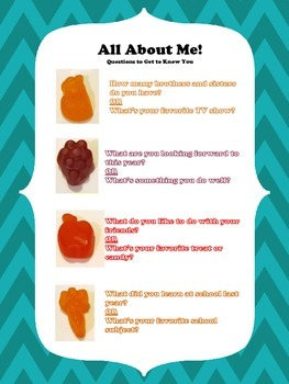 All About Me Questions (with Mott's Fruit Snacks)