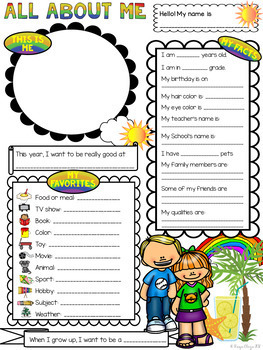 All About Me RAINBOW Theme Back to School Get to Know Me Activity