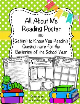 All About Me Reading Poster