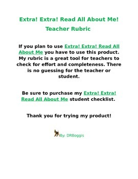 All About Me Rubric