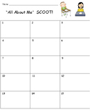 All About Me SCOOT Game (Cards, Grid, Lesson Plan All Included)