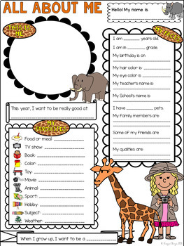 All About Me Safari Jungle Theme Get to Know Me Activity (Back to School)