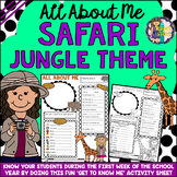 All About Me Safari Jungle Theme Get to Know Me Activity (