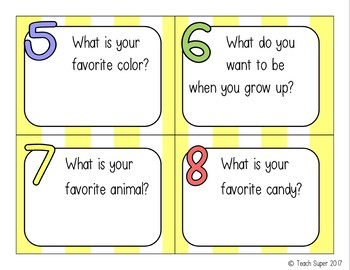 All About Me Scoot Task Cards + Recording Sheets (Back to School)