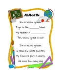 All About Me Second Grade Poem