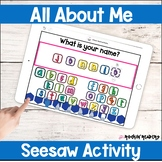 All About Me Seesaw Activity Distance Learning