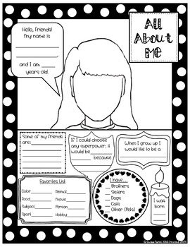 All About Me Self-Portrait Posters
