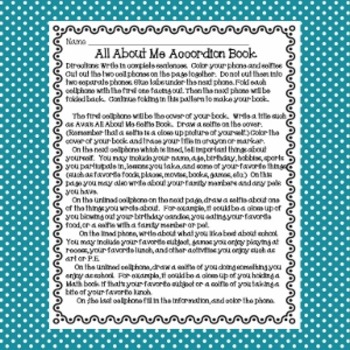 All About Me Selfie Book for Back to School