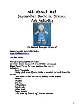 All About Me: September Back to School Art Project