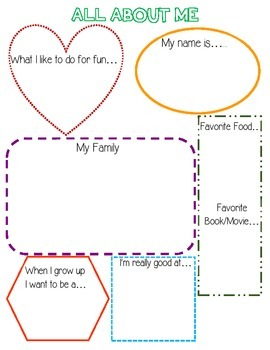 All About Me Sheet