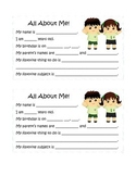 All About Me Sheets