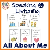 All About Me Speaking and Listening posters and discussion