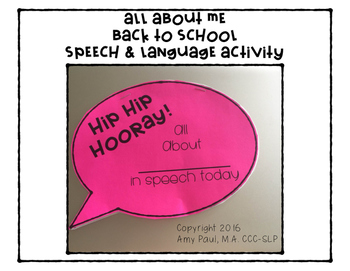 All About Me Speech and Language Back to School Activity
