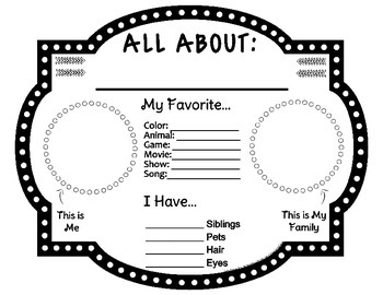 Back to School: All About Me / Star Student Presentation Sheet