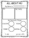 All About Me Student Activity