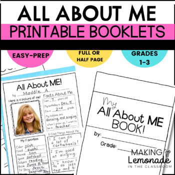 All About Me - Student Booklet and Mini Poster Printables
