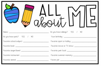 All About Me Student Cards