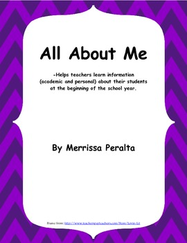 All About Me-Student Get To Know You