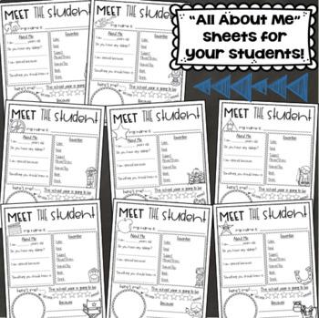All About Me Student Handouts Meet the Teacher Back to School Editable Bundle