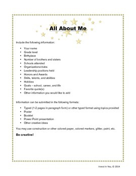 All About Me - Student Information