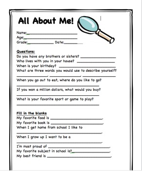 All about me student information sheet by mrsfullenwider tpt for About me template for students