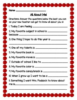 All About Me Student Interest Inventory