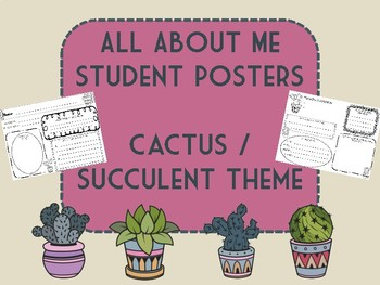 All About Me Student Posters Back to School Cactus Succulents Theme