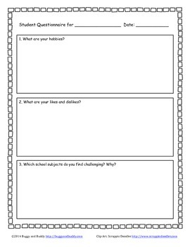 All About Me/ Student Questionnaire