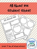All About Me - Student Sheet- Secondary Edition!