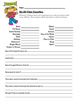 All About Me - Student Survey by Mrs Lyon | Teachers Pay Teachers
