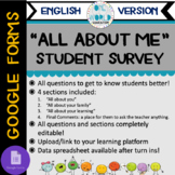All About Me Student Survey (Google Form) English Version