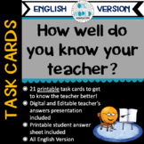 Task Cards: How well do you know your teacher? English Version