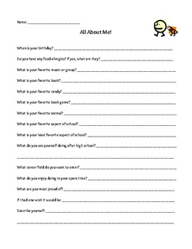 All About Me Student Worksheet
