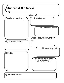 All About Me- Student of the Week Handout and Parent Letter