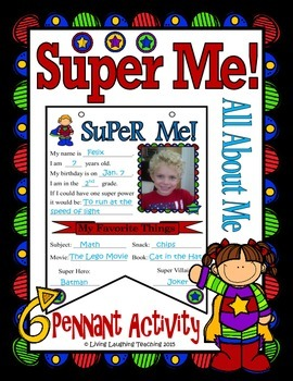 All About Me Super Hero Pennant Banner