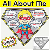 All About Me Worksheet - Superhero Theme Pennants First Day of School Activity