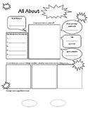 All About Me: Superhero/Comic Sheet