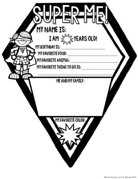 {All About Me} Superhero Kid Pennant Activity for Back to School