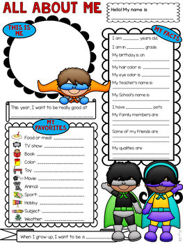 All About Me Superhero Theme Get to Know Me Activity (Back to School)