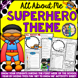 All About Me Superhero Theme Get to Know Me Activity (Back