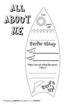 All About Me, Surfboard Beach-Themed Activity