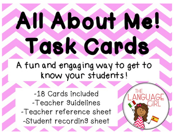 All About Me! Task Cards Back to School Activity