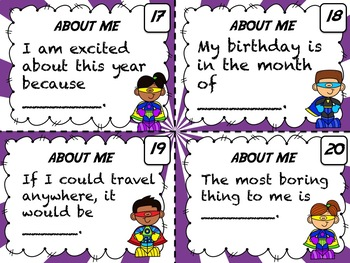 All About Me (Task Cards) - Getting to Know the SUPER in everyone!